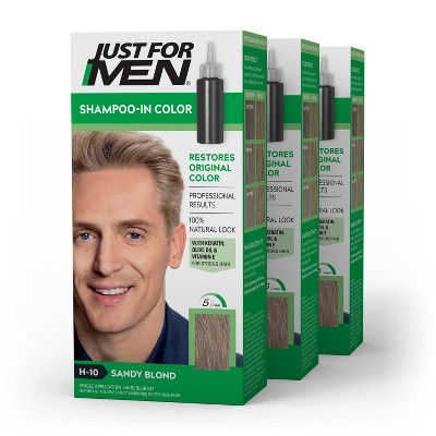 Just For Men ShampooIn Color Gray Hair Coloring for Men  Sandy Blond H10 - 3pk