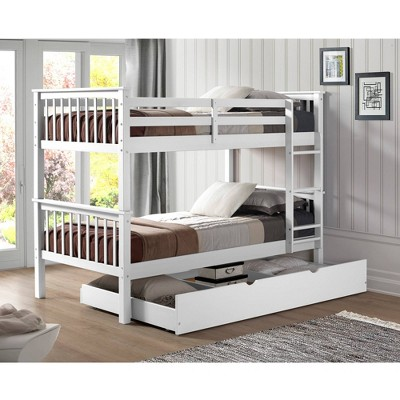Twin Over Twin Solid Wood Mission Design Bunk Bed with Trundle - Saracina Home
