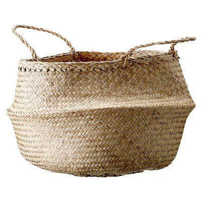 Seagrass Basket With Handles (19 )- Natural - 3R Studios