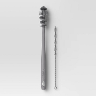 2pc Bottle Brush & Straw Brush Set (Pewter Matte)- Room Essentials™