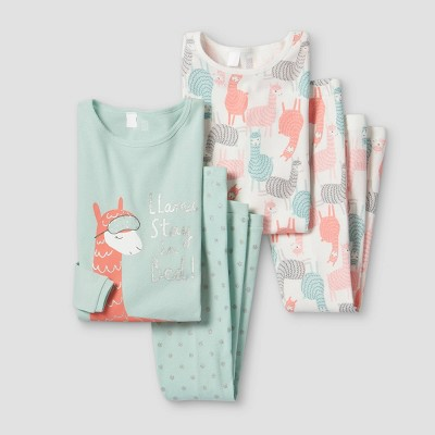 Girls' 4pc Llama Pajama Set - Just One You® made by carter's Green/Pink