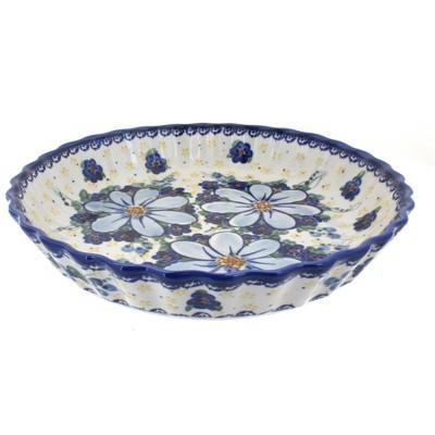 Blue Rose Polish Pottery Daisy Surprise Pie Plate