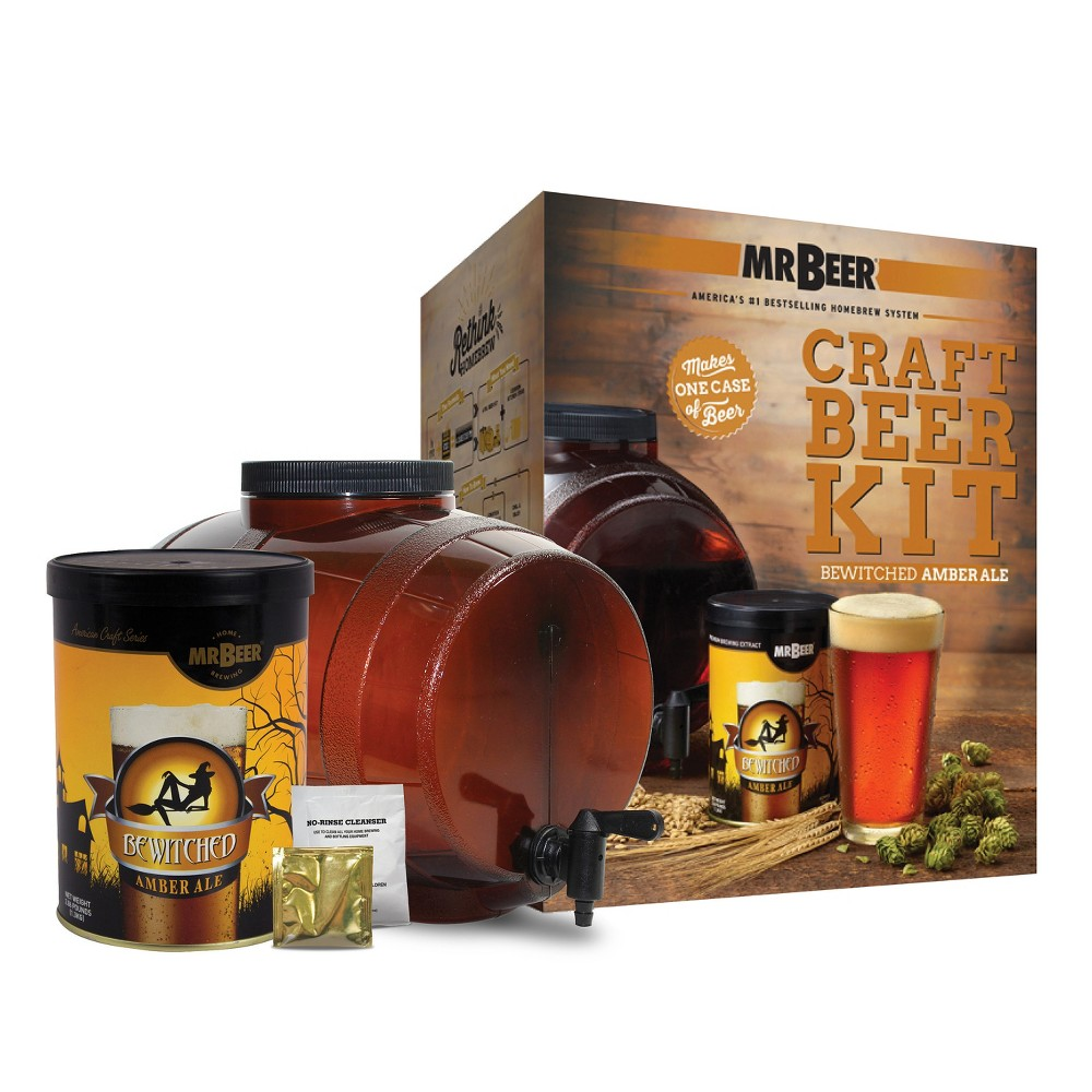 Image of Mr. Beer Bewitched Amber Ale Craft Beer Making Kit, Brown