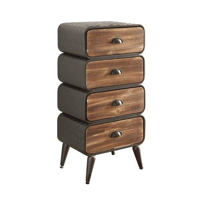 4 Drawer Stacked Design Metal Frame Accent Storage Chest with Splayed Legs Brown/Gray - Benzara