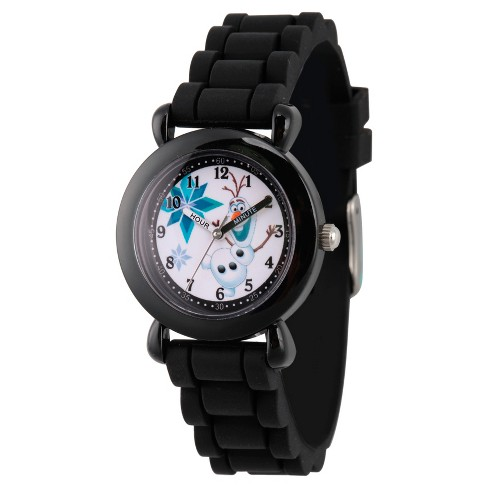 Boys' Disney Frozen Olaf Black Plastic Time Teacher Watch - Black - image 1 of 1