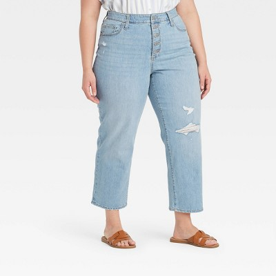 Women's Super-High Rise Vintage Cropped Straight Jeans - Universal Thread™