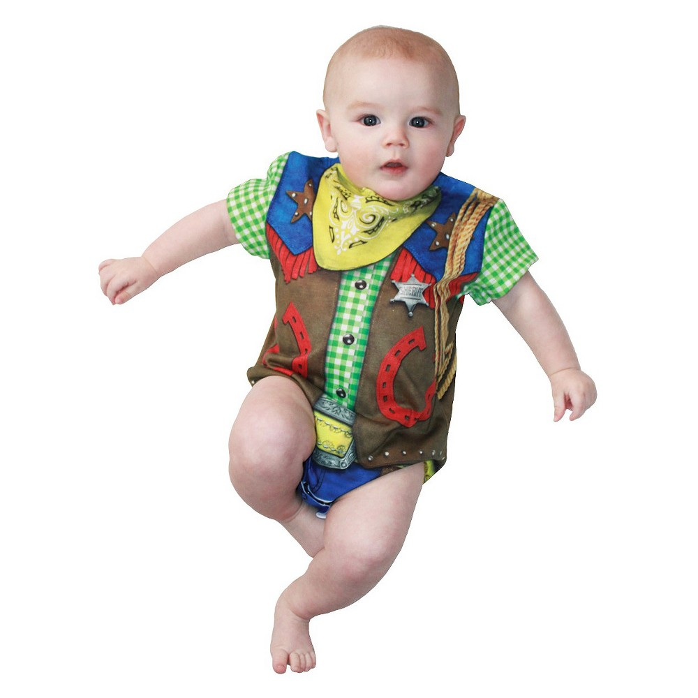 Image of Halloween Baby Kids' Cowboy Romper Costume 12-18M, Men's, Size: Small, Green
