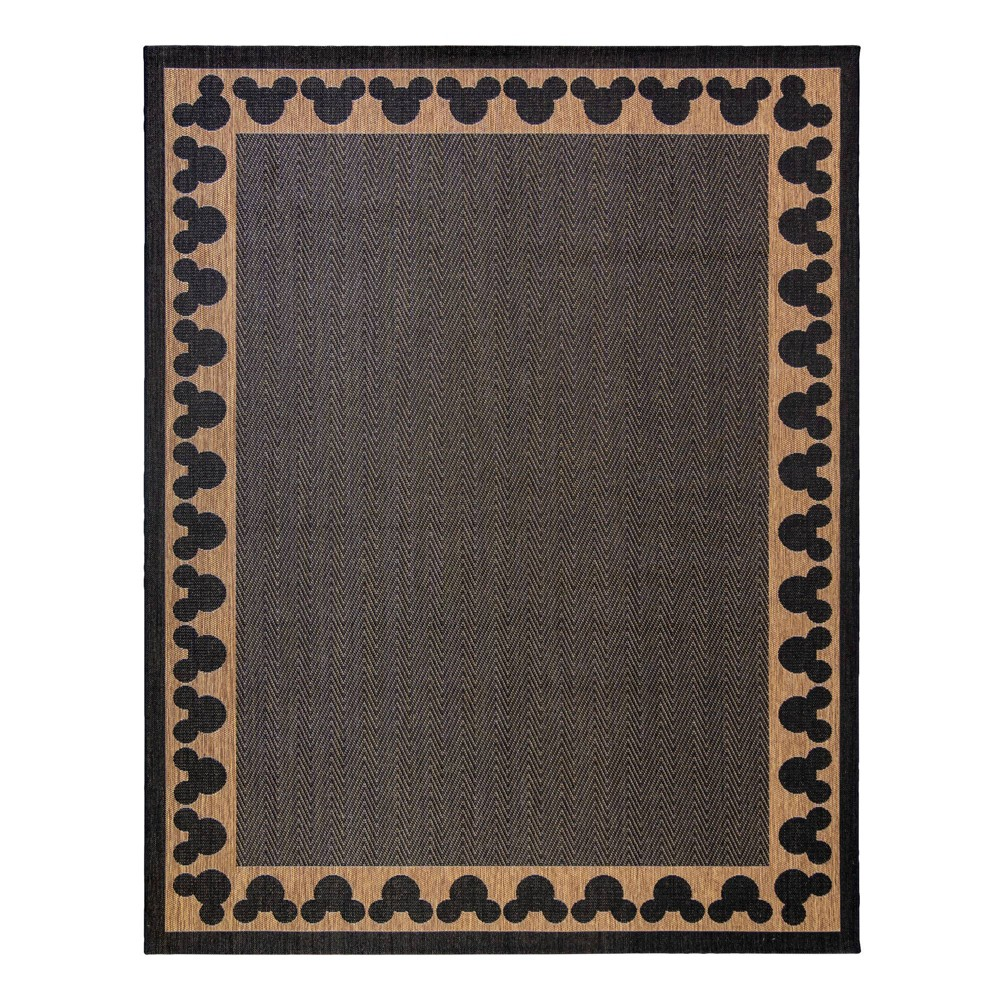 Image of 5'x7' Mickey Mouse & Friends Chestnut Border Outdoor Rug Black