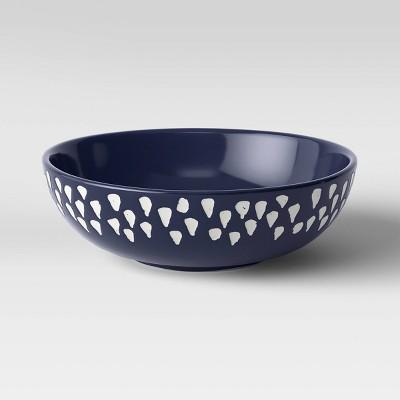 "3"" x 9"" Decorative Ceramic Bowl White/Blue - Opalhouse™"