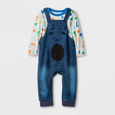 Baby Boys' Long Sleeve Bodysuit Top and Denim Critter Overall Bottom Set - Cat & Jack™ Blue/Gray 6-9M