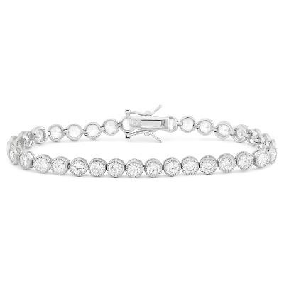 Round-cut Milgrain Cubic Zirconia Tennis Bracelet in Sterling Silver
