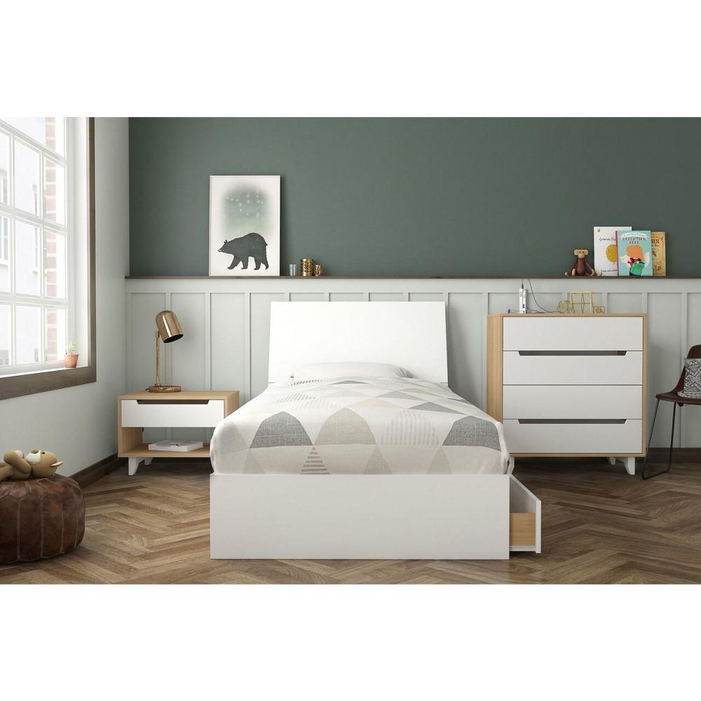 4pc Twin Radiance Platform Bed Bundle Natural Maple White Nexera Nexera