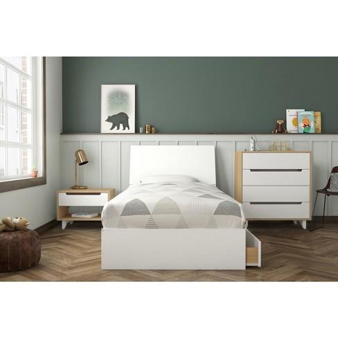 Twin 4pc Radiance Platform Bed Bundle Natural Maple/White - Nexera - Nexera