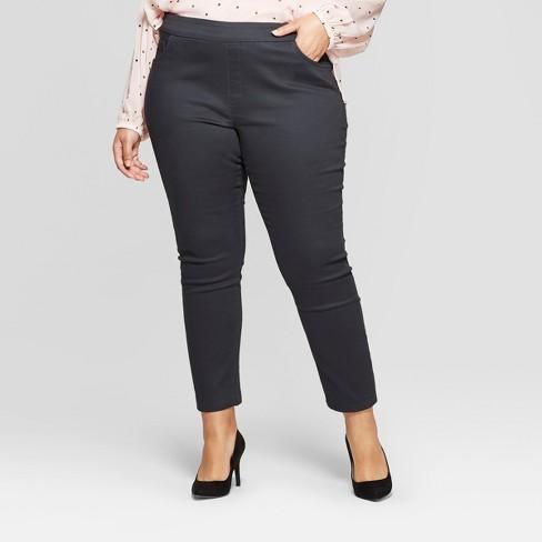 7f7f2bb78ed Women s Plus Size Pull On Skinny Chino Pants - Ava   Viv™ Dark Gray ...