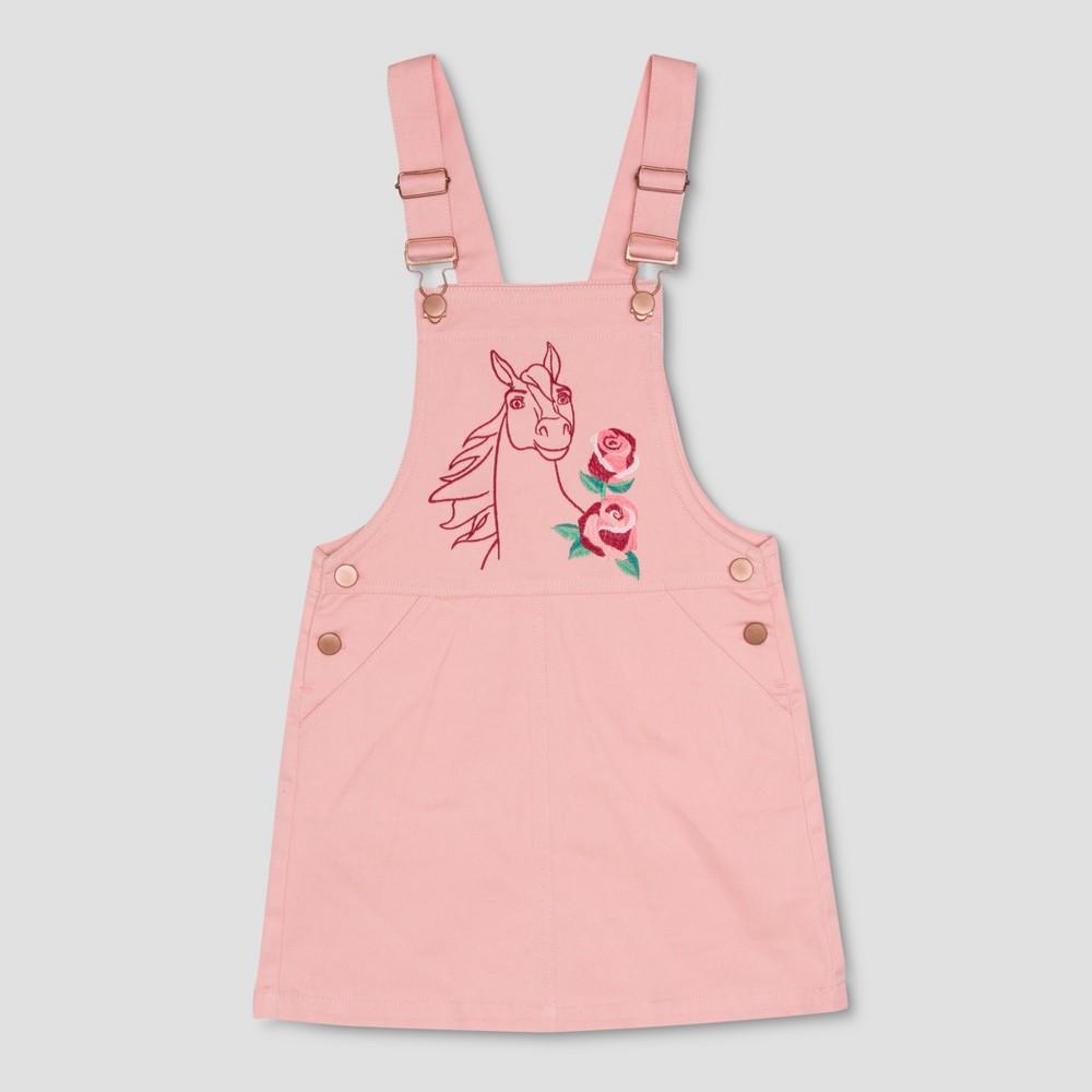 Girls' Spirit Riding Free Big Flower Spirit Overall Dress - Light Pink M