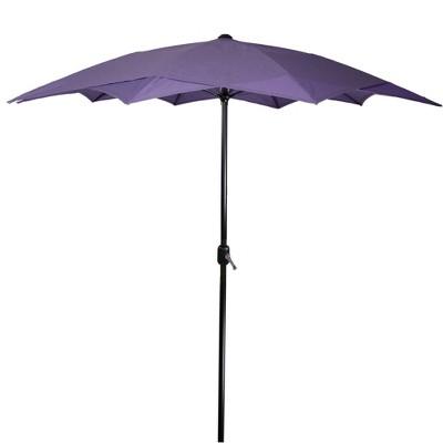 Northlight 8.85ft Outdoor Patio Lotus Umbrella with Hand Crank, Purple