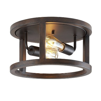 """12.75"""" 2-Light LED Iron Rustic Industrial Flush Mount Brown - JONATHAN Y"""