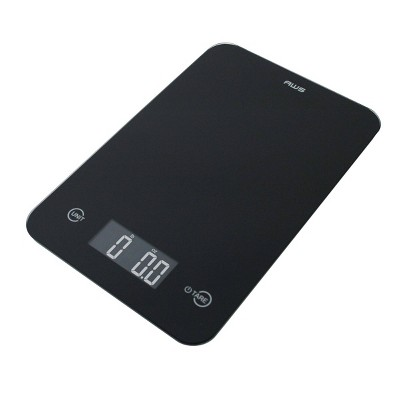 American Weigh Scales  Onyx-5K Tempered Glass Kitchen Scale Black