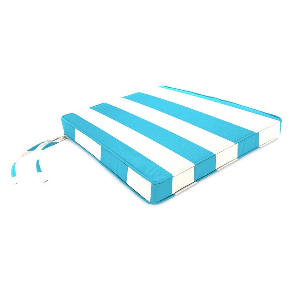 Jordan Outdoor Tapered Boxed Edge Seat Cushion - Cabana Stripe Turquoise