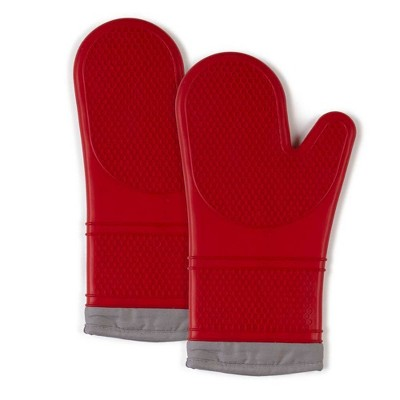 """2pk 7.5""""X13"""" Silicone Oven Mitts Red - Town & Country Living"""