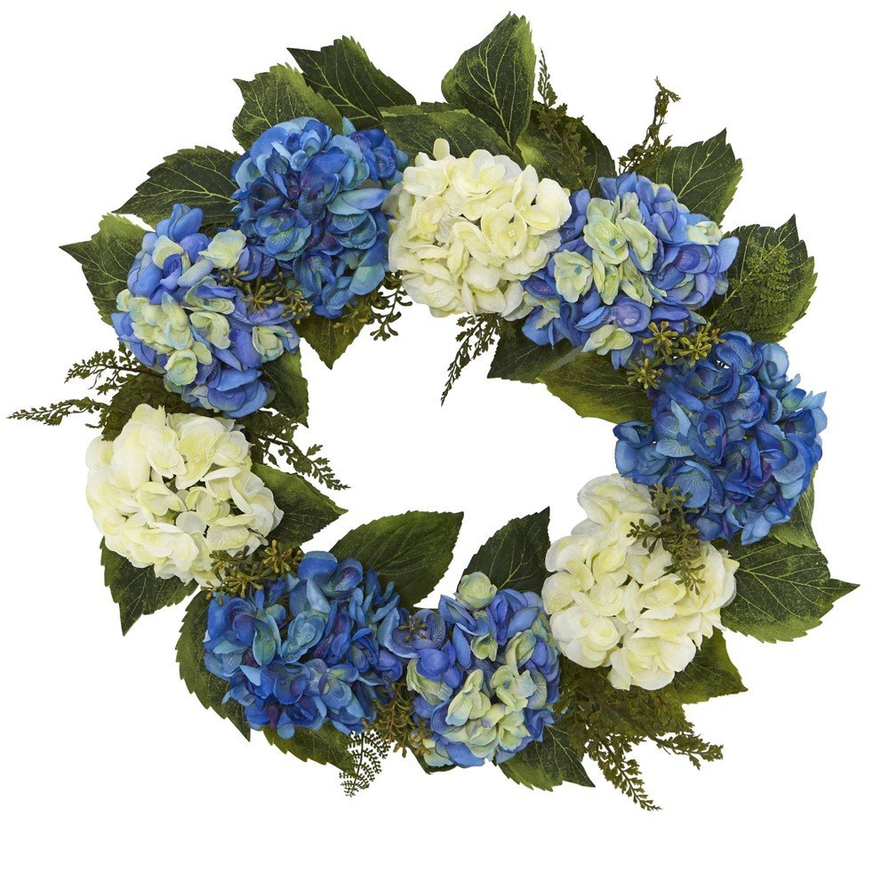 "Image of ""24"""" Artificial Hydrangea Wreath Blue/White - Nearly Natural"""