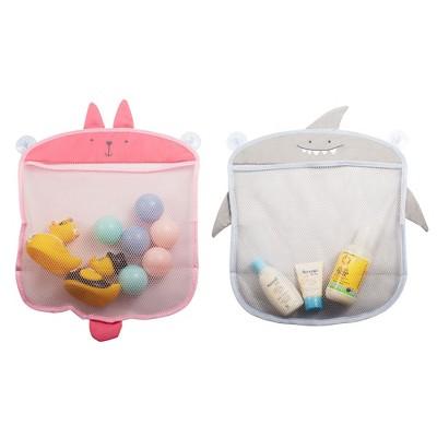 Bath Toy Organizer Set for Kids - Rabbit and Shark Storage Bags for Bathtub Toy Holder, Bathroom or Shower Caddy, Pink & Gray