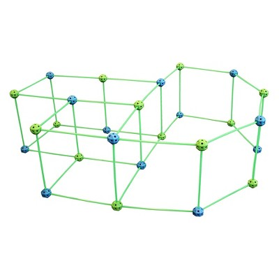 Funphix Glow in the Dark Jumbo Indoor and Outdoor Fort Building Construction Toy Play Kit with Poles, Balls, and Sheet, 77 pieces, Blue and Green