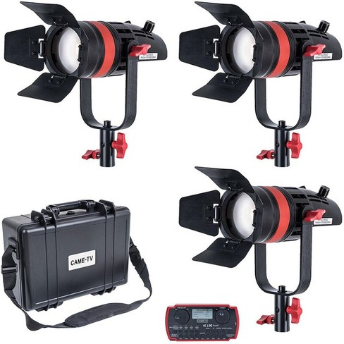 Came-TV Boltzen Q-Series 55W High Output Fresnel Focusable Daylight LED 3-Light Kit with Softboxes, Stands and Wheeled Case - image 1 of 4
