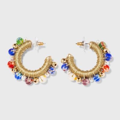 SUGARFIX by BaubleBar Mixed Media Metallic Hoop Earrings