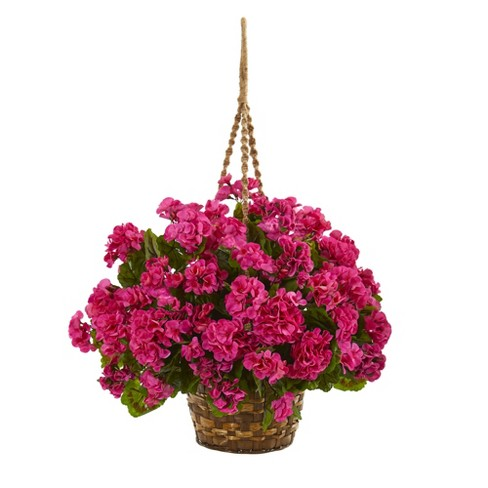 Geranium Hanging Basket Artificial Plant - Nearly Natural - image 1 of 1