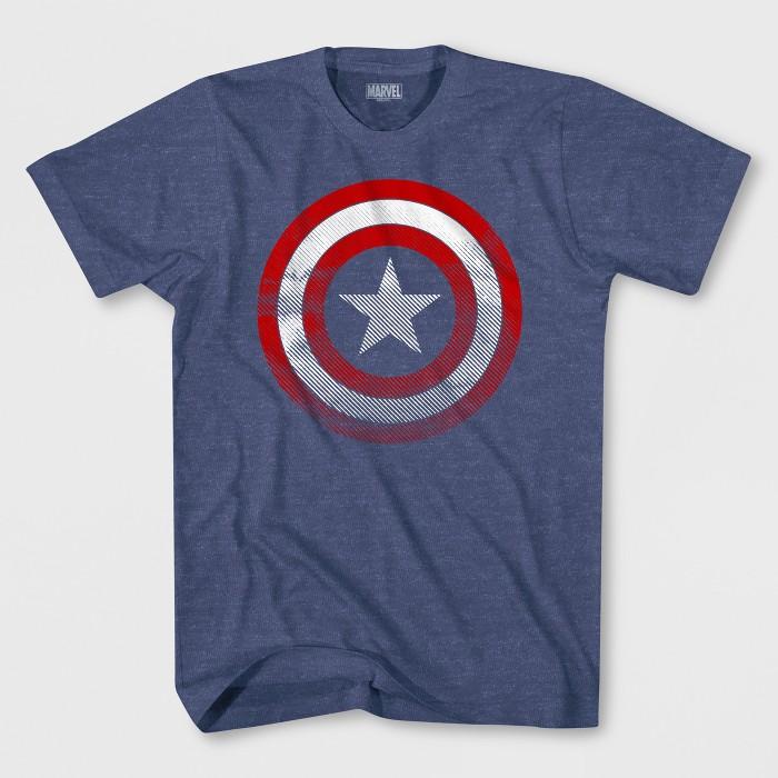 Boys' Captain America Short Sleeve T-Shirt - Denim Heather - image 1 of 1