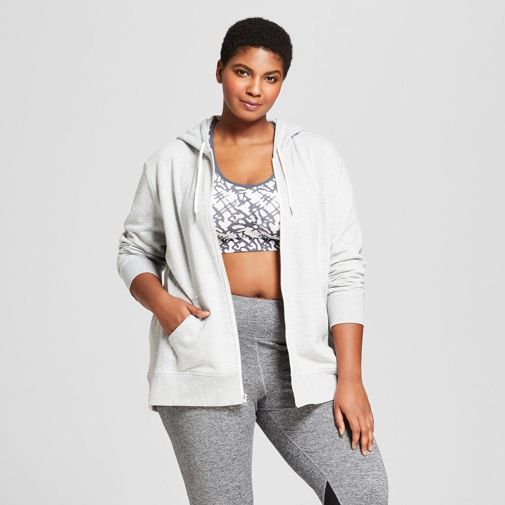 Women's Plus-Size Authentics French Terry Full Zip Sweatshirt - C9 Champion Light Heather Gray 3X