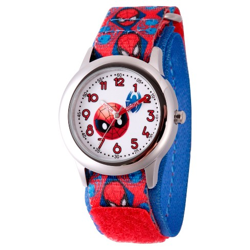 Boys' Marvel® Emoji Spider-Man Stainless Steel Time Teacher Watch - Red - image 1 of 2