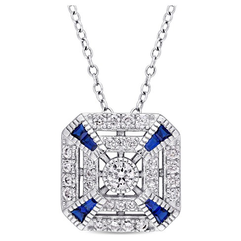 ".8 CT. T.W. Blue Spinel and 1.14 CT. T.W. Cubic Zirconia Vintage Square Pendant Necklace in Sterling Silver - (18"") - image 1 of 2"