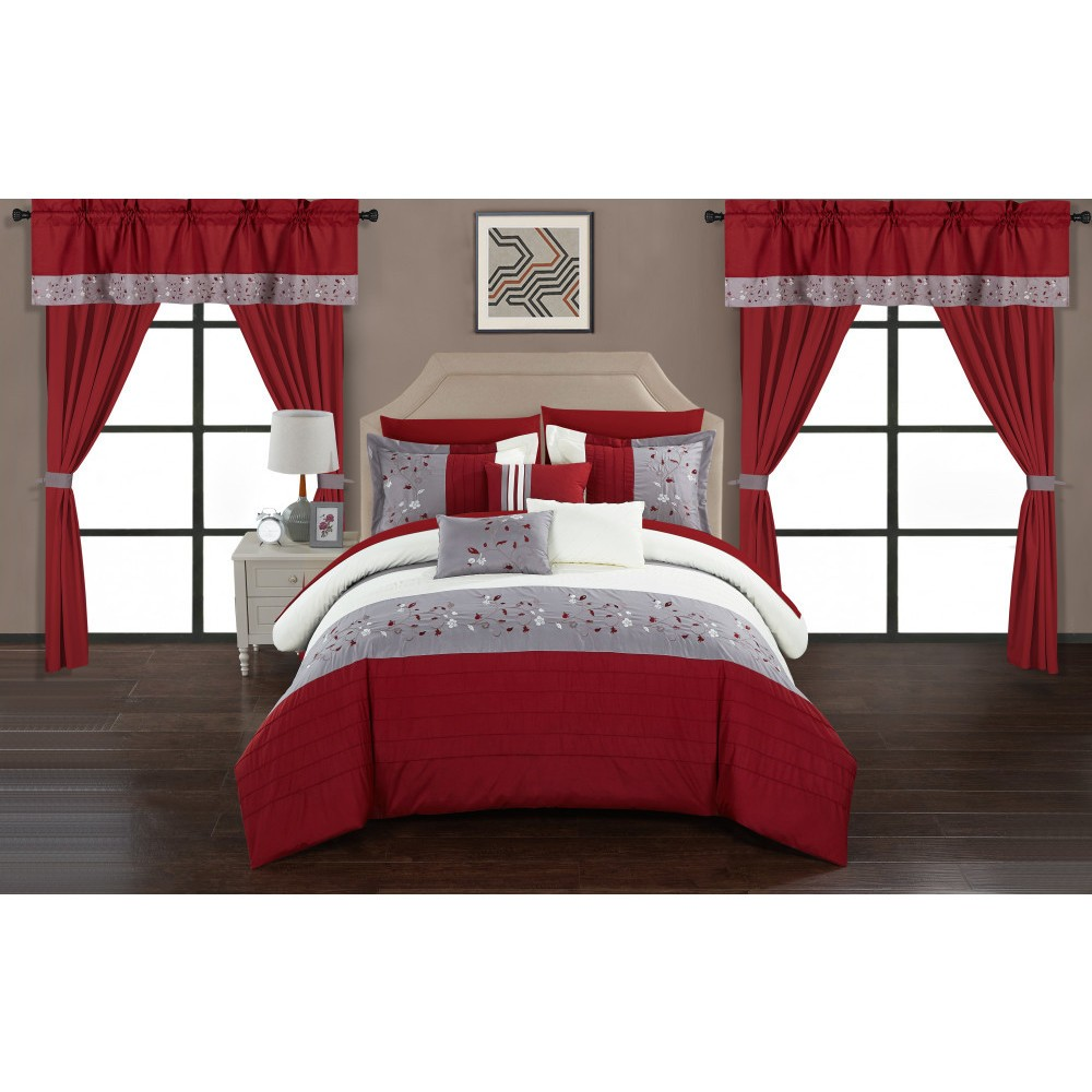 Queen 20pc Sonjae Bed In A Bag Comforter Set Red - Chic Home