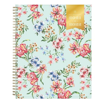 "2021-22 Academic Planner 8.5"" x 11"" Clear Pocket Cover Weekly/Monthly Wirebound Tulip Garden Mint - Day Designer"