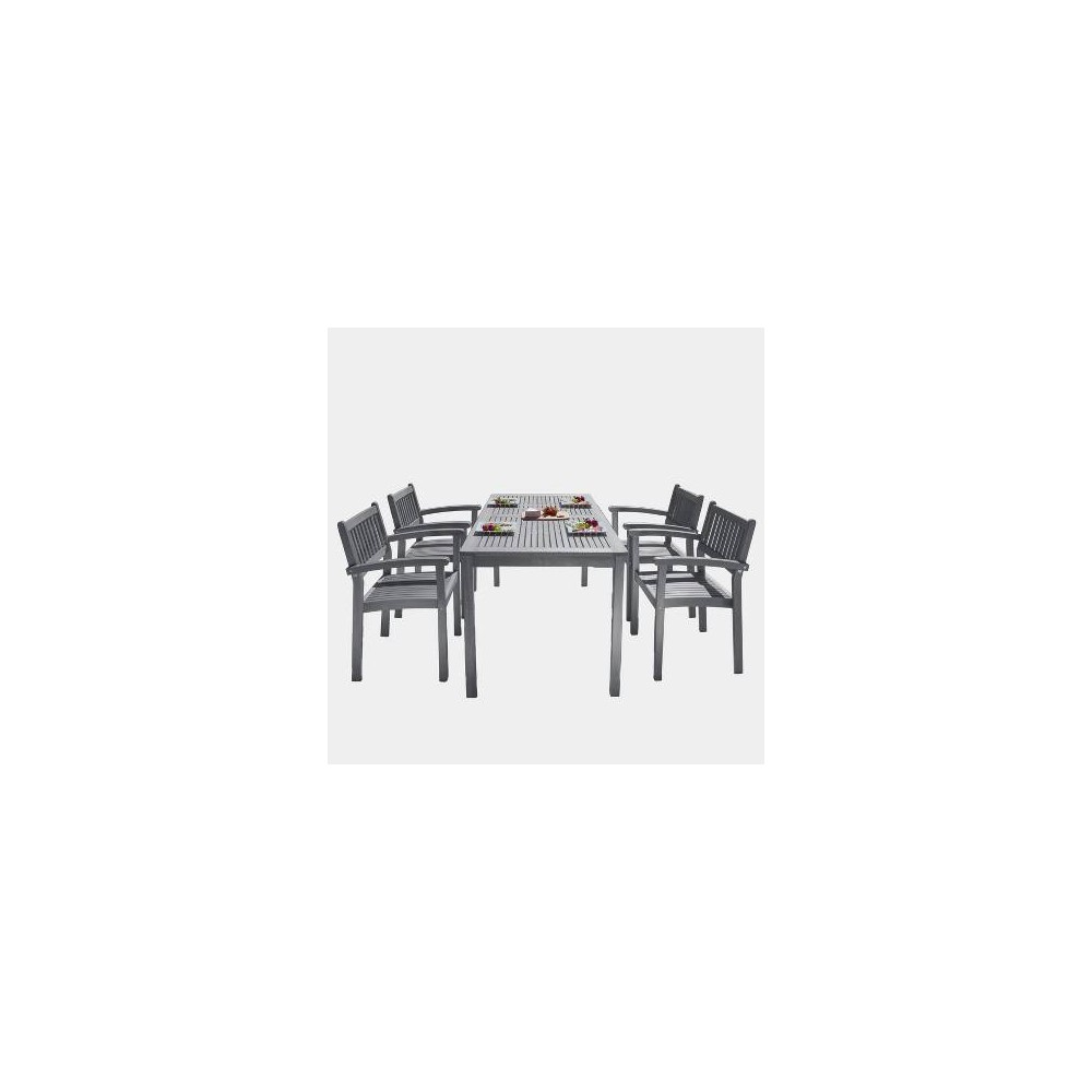 Renaissance Outdoor Patio Hand-Scraped Wood 5pc Dining Set with Stacking Chairs, Mid Gray
