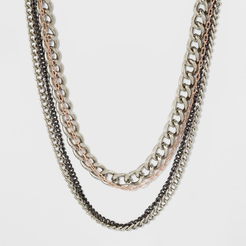 Multi Row Layered with Mixed Chain Necklace - image 1 of 3