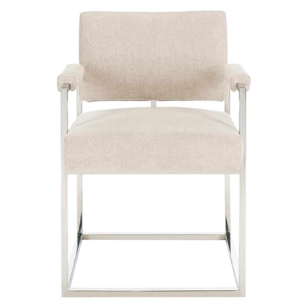 Jenette Velvet Arm Chair Silver - Safavieh