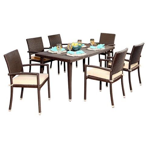 Harlan Rectangle All-Weather Wicker Patio Dining Set - Espresso - Abbyson Living - image 1 of 4