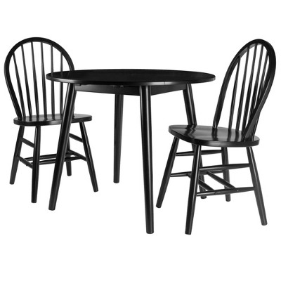 3pc Moreno Drop Leaf Dining Set with Chairs Black - Winsome