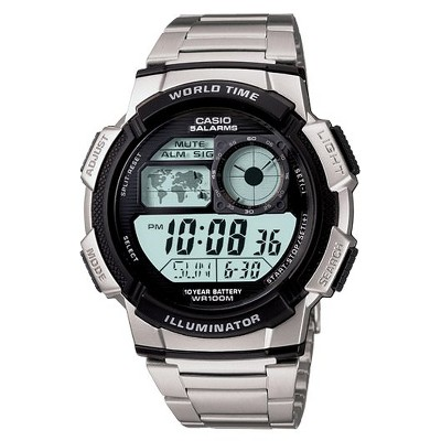 Men's Casio 10 Year Battery Digital Analog Watch - Silver (AE1000WD-1AV)