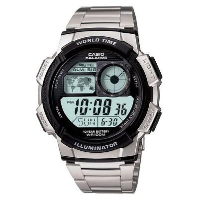 Men's Casio 10 Year Battery Digital Analog Watch - Silver (AE1000WD-1AV)