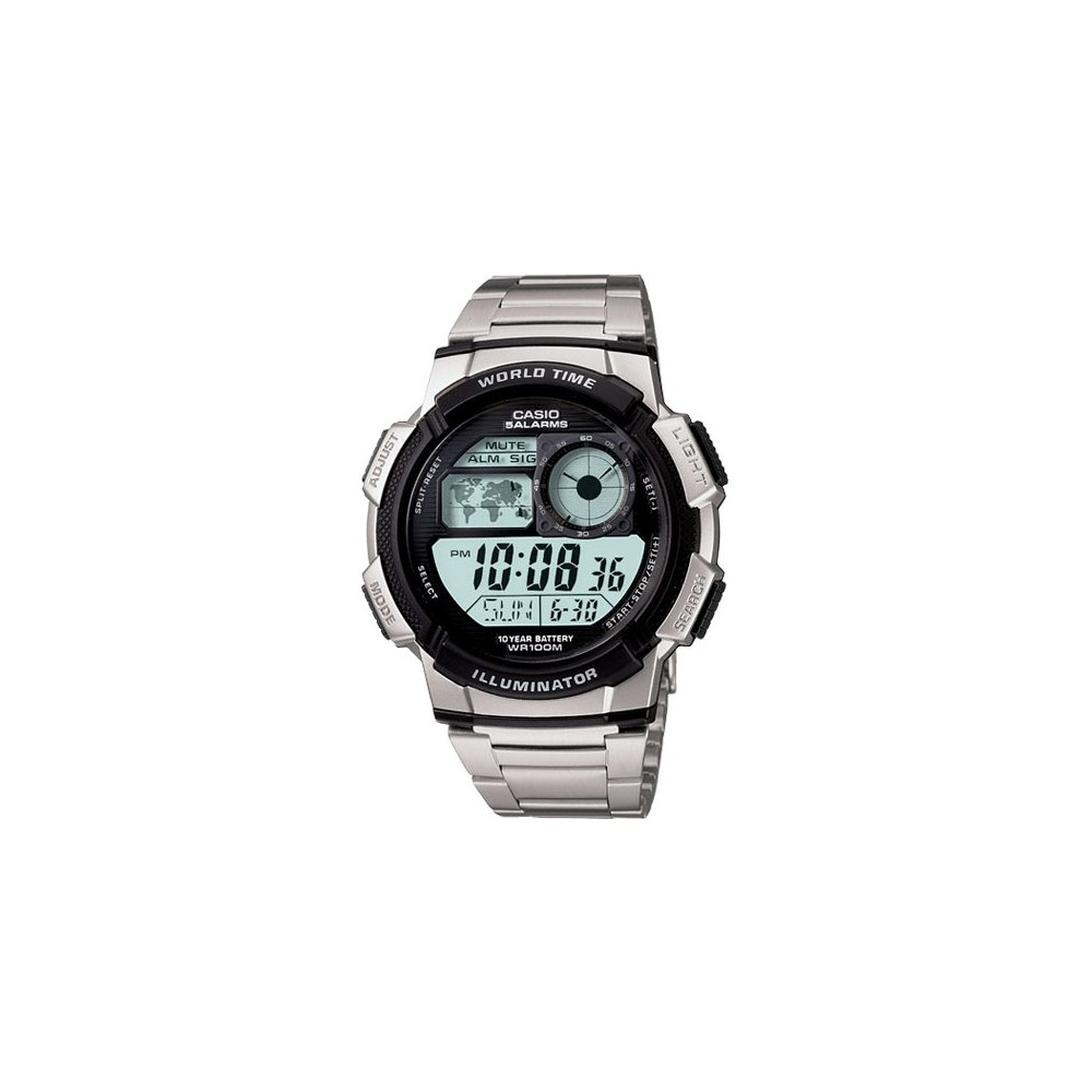 Image of Men's Casio 10 Year Battery Digital Analog Watch - Silver (AE1000WD-1AV), Size: Small