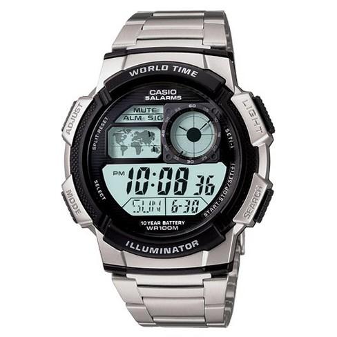 Men's Casio 10 Year Battery Digital Analog Watch - Silver (AE1000WD-1AV) - image 1 of 1