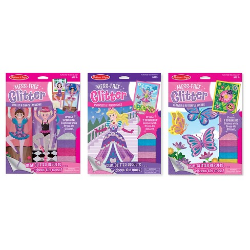 Melissa & Doug® Mess-Free Glitter Activity Kits Set: Fashions, Fairies, and Flowers - image 1 of 11