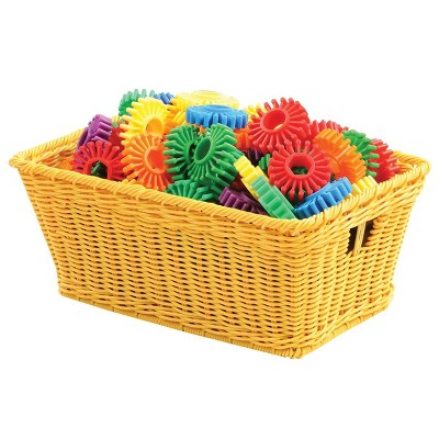 Kaplan Early Learning Small Plastic Wicker Baskets - Yellow - Set of 10
