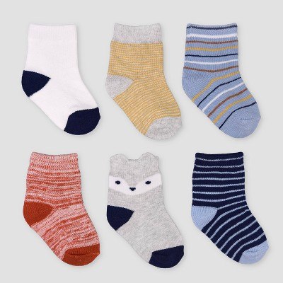 Baby Boys' 6pk Striped Crew Socks - Just One You® made by carter's 3-12M