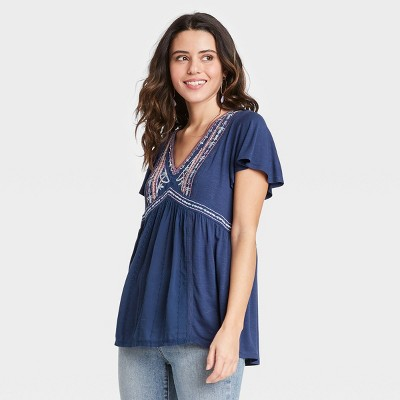 Women's Short Sleeve Embroidered Knit Top - Knox Rose™