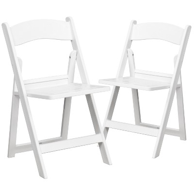 Flash Furniture 2 Pack HERCULES Series 1000 lb. Capacity White Resin Folding Chair with Slatted Seat